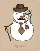 Hipster snowman, happy new year! — Stock Vector