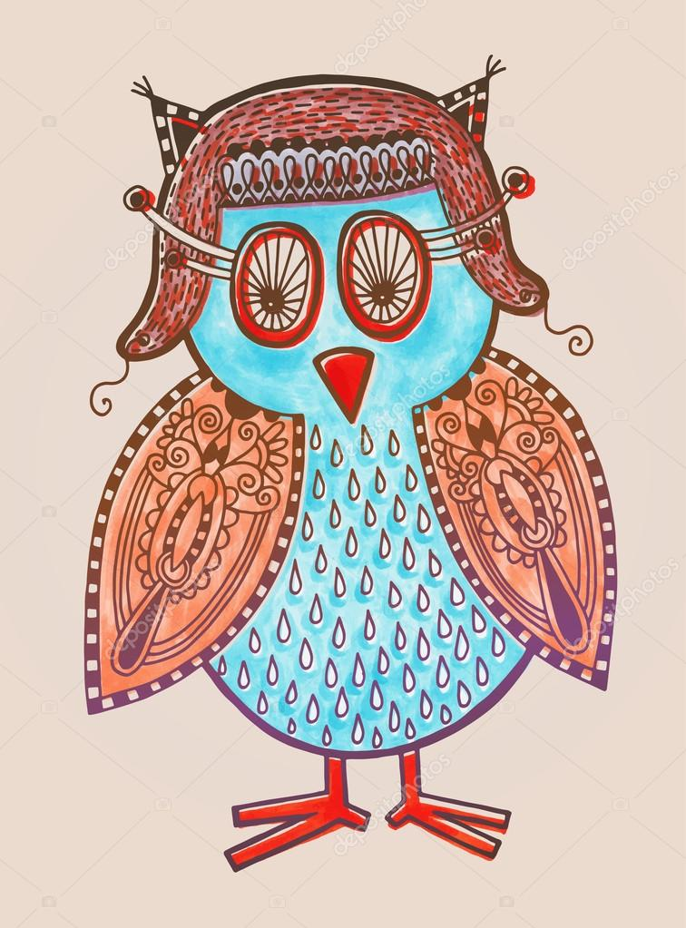 Owl Doodle Drawing Marker Drawing of Cute Doodle