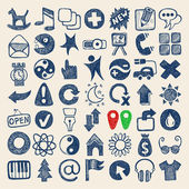 49 hand drawing doodle web icons — ストックベクタ