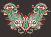 Neckline ornate floral paisley — Stock Vector