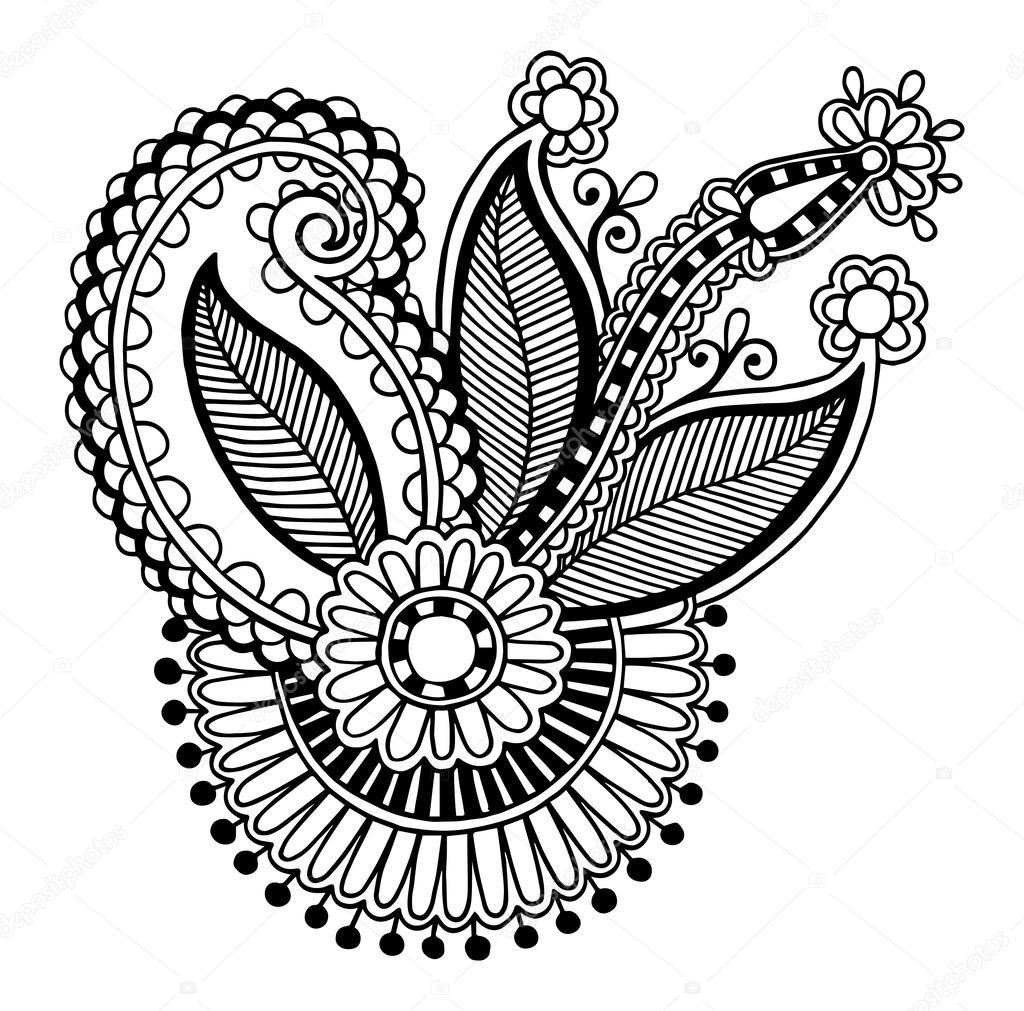 Line Art Ornate Flower Design : Black line art ornate flower design — stock vector
