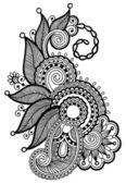 Black line art ornate flower — Stock Vector