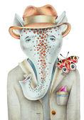Unusual original pencil drawing of hipster fantastic animal port — Stock Photo