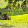 Lawn mower on the green lawn on a sunny day — Stockfoto