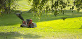 Lawn mower on the green lawn on a sunny day — Stock Photo