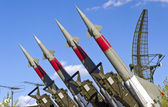 Rockets of a surface-to-air missile system are aimed in the sky — Stock Photo