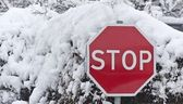 Stop carefully snow journey is limited — Stockfoto