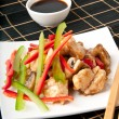Stir fry chicken with sweet peppers and mushrooms — Stock Photo #12248640