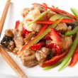 Stir fry chicken with sweet peppers and mushrooms — Stock Photo #12248644