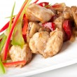 Stir fry chicken with sweet peppers and mushrooms — Stock Photo #12248647