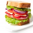 Healthy ham sandwich with cheese, tomatoes and lettuce - ストック写真