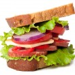 Healthy ham sandwich with cheese, tomatoes and lettuce - Stock fotografie
