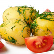 Young boiled potatoes with dill in oil and tomatoes — Stock Photo