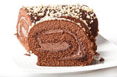 Swiss Sponge Roll With Cream on White Plate — Stock Photo
