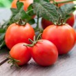 Freshly harvested summer cherry tomatoes on wooden background — Stock Photo
