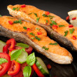 Fish dish - grilled salmon with vegetables — Stock Photo #12645620