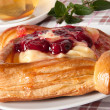 Stock Photo: Delicious Cherry puff pastry with custard