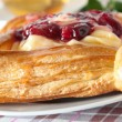 Delicious Cherry puff pastry with custard — Photo