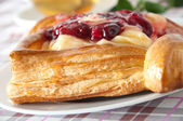 Delicious Cherry puff pastry with custard — Stock Photo