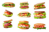 Collage of delicious sandwiches. — Stock Photo