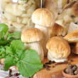 Boletus on wooden cutting board, spices, oil and spoon — Stock Photo