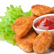 Stock Photo: Fresh fragrant fried chicken nuggets