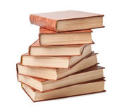 Stack of old books on a white background — Stock Photo