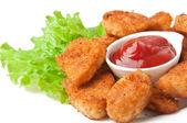 Fresh fragrant fried chicken nuggets — Foto Stock