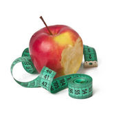 Red Apple and Measuring Tape Isolated on White Background — Stock Photo
