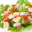 Stock Photo: Fresh salmon salad, lettuce and quail eggs