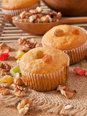 Muffins with nuts and raisins — Stock Photo