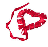 Red heart ribbon and bow isolated on white background — Foto Stock