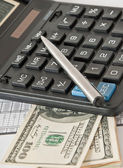 Calculator, money and the financial report — Stock Photo