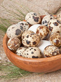 Chicken and quail eggs in a wooden bowl — Stock Photo