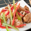 Stir fry chicken with sweet peppers and mushrooms — Stock Photo