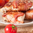 Royalty-Free Stock Photo: Grilled chicken patties wrapped strips of bacon