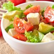 Salad with avocado, cherry tomatoes and mozzarella with honey-bacon dressing — Stock Photo