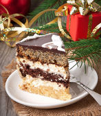 Christmas cakes on wooden background — ストック写真