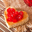 Heart-shaped toast with jam — Stock Photo
