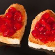 Heart-shaped toast with jam - Stock Photo