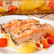 Stock Photo: Pieces of salmon with potatoes, tomatoes and onions baked in oven