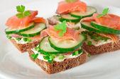 Chutný sendvič s lososem — Stock fotografie