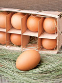 Eggs in a wooden container — Stok fotoğraf