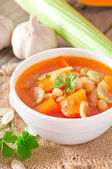 Tomato soup with pumpkin, beans and celery — Stock Photo
