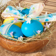 Easter eggs in nest on wooden background — ストック写真
