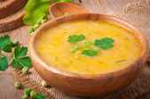 Traditional fresh pea soup in the bowl — Stock Photo