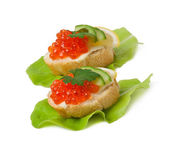 Sandwich with red caviar, butter and cucumber — Stock Photo