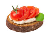 Warm bread tomatoes, cream cheese and basil isolated on white background — Stock Photo