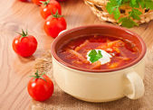 Ukrainian and russian national red soup-borsch closeup — Stock Photo