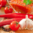 Red hot chili pepper and ingredients for sauce and sauce — Foto Stock